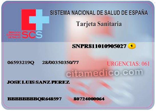 Tarjeta sanitaria del SCS - Servicio Cántabro de Salud