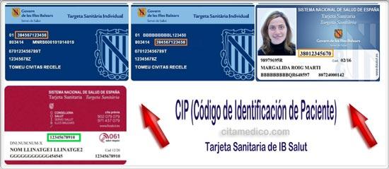 CIP (Código de Identificación de Paciente) de la Tarjeta Sanitaria de IB Salut