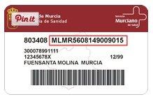 Antiguo modelo de tarjeta sanitaria de Murcia