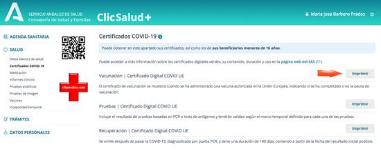 Descargar Certificado COVID UE en Clic+ Salud