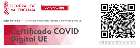 Certificado COVID Digital UE Comunitat Valenciana