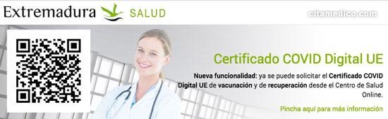 Certificado Digital COVID en Extremadura