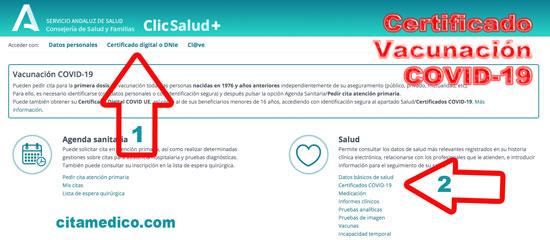 Certificado COVID UE en Clic+ Salud